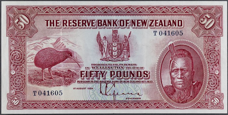 New Zealand Pre-Decimal Banknotes Issue 1 Red Letter D
