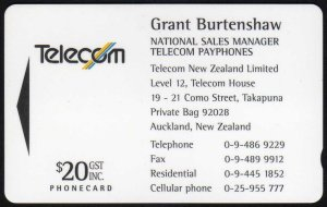 new zealand phonecards telecom business cards 1994