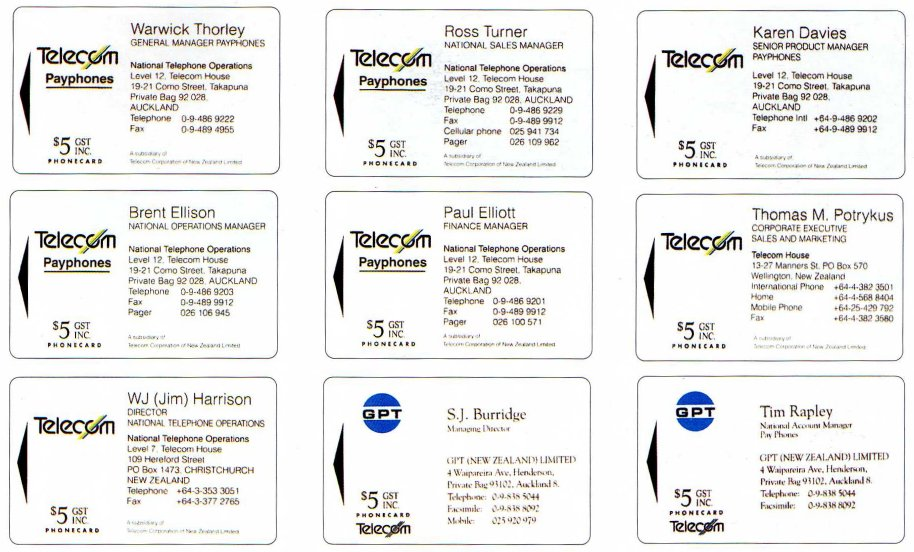 new zealand phonecards telecom business cards 1993